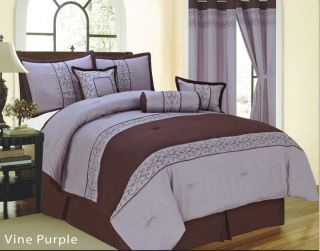 Pcs Embroidered Vine Floral Comforter Set Bed in A Bag Queen Purple