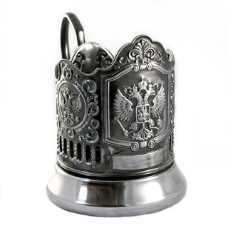 IMPERIAL EAGLE RUSSIAN COAT ARMS TEA GLASS METAL HOLDER CLASSIC GIFT
