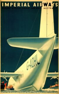 1936 Vintage Travel Airline Poster Imperial Airways