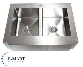 inch Stainless Steel Flat Front Farm Apron Double 50 50 Bowl Kitchen