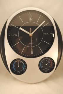 Finelife All in One Black Weather Station Quartz Wall Clock