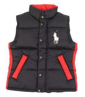 lauren polo style puffer vest size large color navy material 80 % down