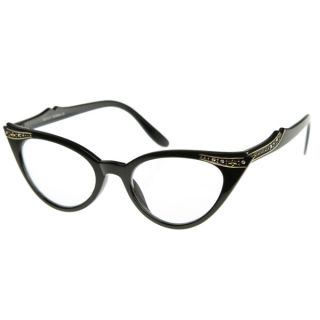 Inspired Fashion Clear Lens Cat Eye Glasses with Rhinestones