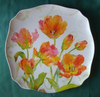 Tulip Tango Melamine Plastic Salad Dessert 9 Picnic Plates from