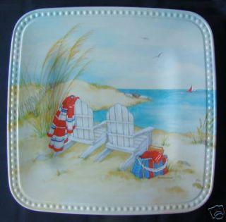 Beach Cove Melamine Plastic 8 5 Sq Picnic Plate S