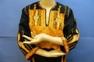 Vintage Hand Stitched Middle East Arabic Islamic Black Orange Abaya