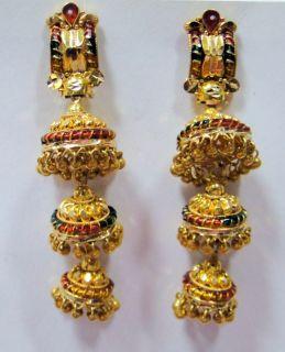 22 K Solid Gold Earrings Pair Jumki Chandelier Earrings