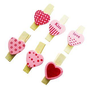 EUR € 1.28   legno rosa clip amore piccolo (6 pz), Gadget a
