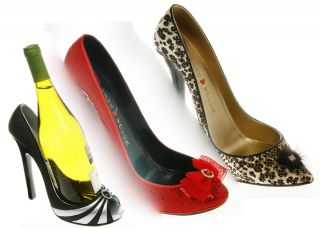 High heeled Shoe Wine Bottle Holder Animal Print Red Black White