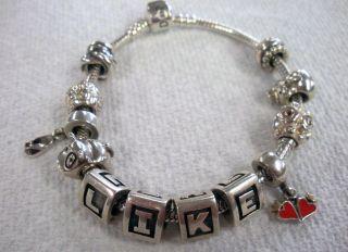 Pandora Bracelet 12 Charms with 1 Gold Charm 52 2 Grams
