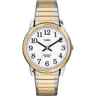 Timex Indiglo Mens Easy Reader Gold Silver Tone Expansion Band Watch