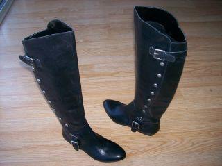 Carlos Santana Indira Boots Flat Tall Leather Black Studded Womens sz