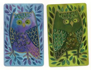 Swap Playing Cards 2 Single Owls Birds