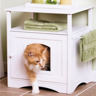 New Pet Bed Dog or Cat Cottage Cabinet House Litter Box Hut with Shelf