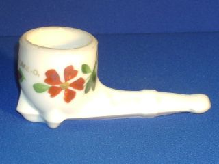 Indian Lake Ohio Souvenir Milk Glass Pipe