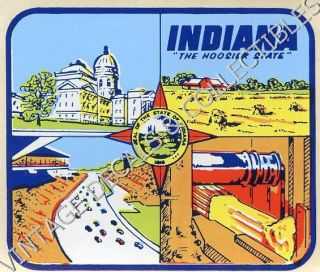 Vintage Indiana Hoosier State 4 Scene Souvenir Windshield Travel Decal