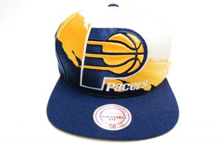 Indiana Pacers Paintbrush Snapback Basketball Mitchell & Ness Hat Mens