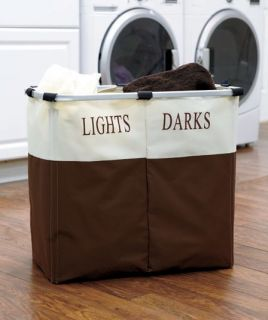 New Dual Sorting Laundry Hamper Canvas Double Basket