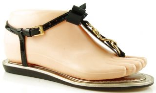 Kate Spade Indira Black Patent Gold Chain Womens Shoes Designer Thong