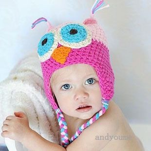 1pc New Infant Baby Toddle Boy Girl Crochet Knit Cute OWL Beanies Hats