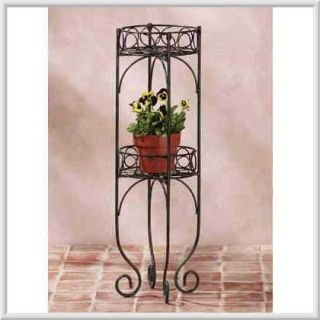 Two Tier Lacy Metal Scrollwork Indoor Outdoor Plant Stand Rack
