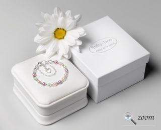 Christening Gift Swarovski Pearl Silver Baby Bracelet