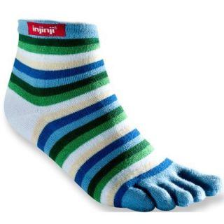 Injinji Rainbow Strip Mini Crew Toe Socks Womens Medium M Blue New