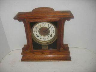 Antique Ingraham Oak Kitchenette Chime Cabinet Clock