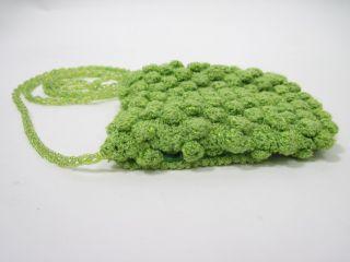 Inge Christopher Green Crochet Small Shoulder Handbag