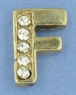 Tie Tac Mens Small Rhinestone Initial Letter F Lapel Pin