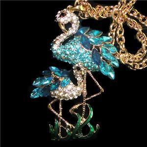 Dual Flamingo Necklace Pendant Blue Swarovski Crystal Bird Animal