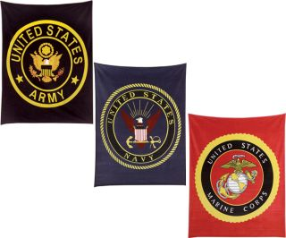US Military Insignia Embroidered Soft Fleece Blankets