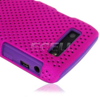 Purple Hybrid Mesh and Silicone Sports Case Cover for Blackberry Bold