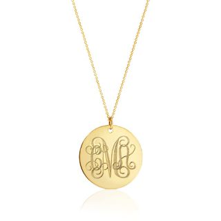 Necklace Monogram Disc Necklaces Personalize Gold Initial Necklace