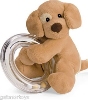 Gund Baby Spunky Puppy Dog Plush Ring Rattle New