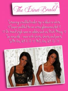 Pink Boutique Inna Studded Black or White Bralet Longline Crop Top