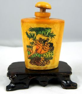 Old Ox Bone Snuff Bottle Carved Sexual Intercourse Snuff Bottle