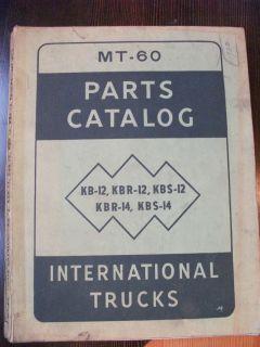 1940s International Truck Parts Catalog MT 60 K series trucks Original