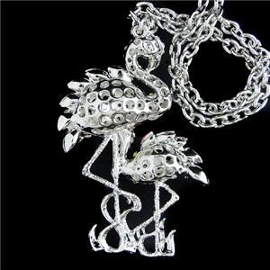 Dual Flamingo Pendant Necklace Red Rhinestone Crystal Bird