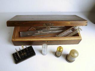 Asst Lot Wood Box F Dental Burs Tools Implements Misdom Scapel Glass