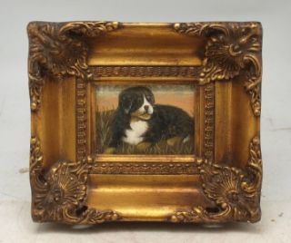 Miniature Oil Painting of A Laying Dog in A Solid Wood Gilt Frame Hand