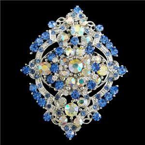 Glitzy Flower Floral Brooch Pendant Pin Blue Rhinestone Crystal
