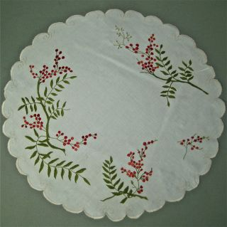 Antique Society Silk Embroidered Flower 17 5 Centerpiece Doily