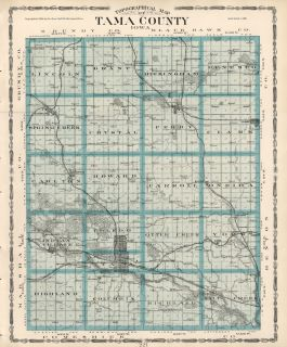 Tama County Iowa Map Authentic 1904 Dated w Towns TWPS RRs Topography