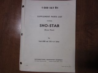 International Scout Snow Star Snow Plow Truck Parts Manual