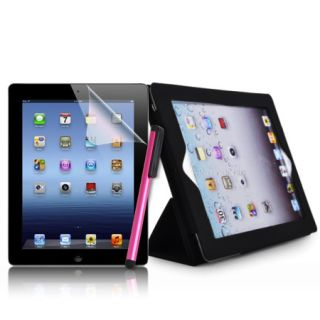 Leather Stand Case Film Guard Pink Stylus Pen for iPad 3 3G 2nd