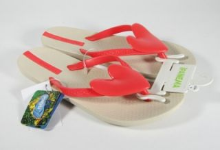Beige Red Recycleable Ipanema Neo Love Heart Thong Flip Flop Sandal