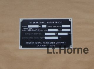International Truck Pickup ID Data Plate 40s KB 1 KB2