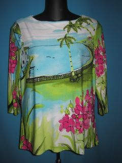 INVESTMENTS PETITE BLUE GREEN PINK TROPICAL PRINT 3 4 SLEEVE BLOUSE