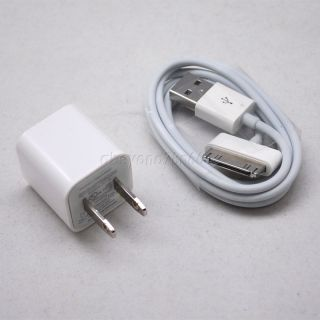 AC Wall Charger Adapter USB Data Sync Cable for iPod Touch iPhone 4S